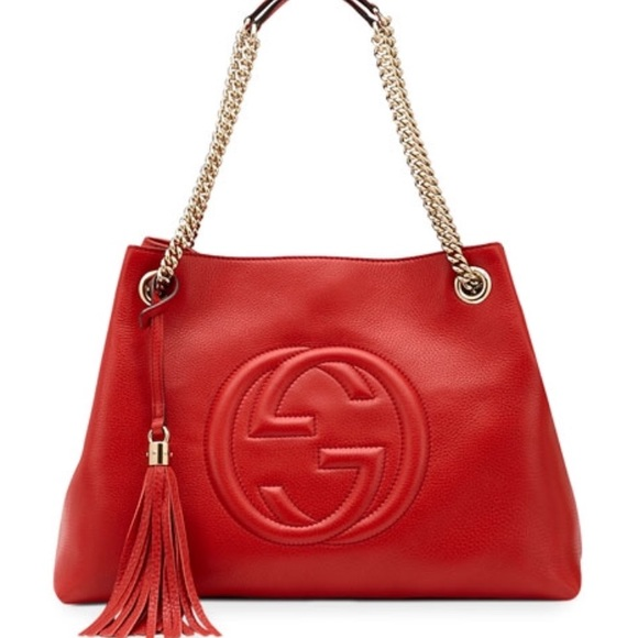 12464b53a06 AUTHENTIC Gucci Soho Medium Tote with Chain- Red